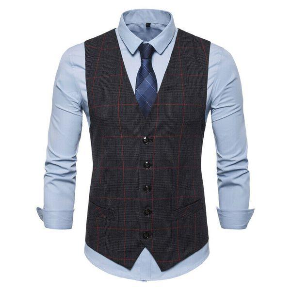 Goocheer 2020 Мужские жилеты твердые формальные блейзер жилеты однобортный жилет костюм V-образным вырезом S-XXL мужской деловой костюм жилет фото