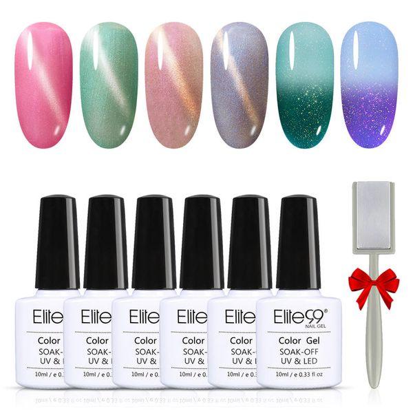 (6PCS)Elite99 Nail Gel Polish Set Kit Soak Off Cat Eye Magnet Manicure Hybrid Varnishes Gel Varnish UV Temperature Change Set