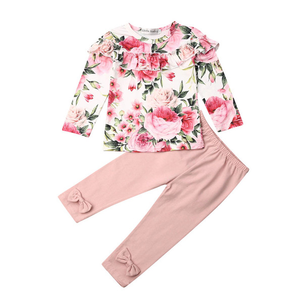 children's sets 2pcs kids clothing baby girls clothes ruffles flowers printed long sleeve  t-shirt +long pants outfit