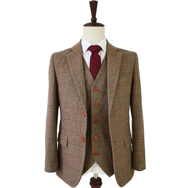 tailor made slim fit suits for men retro wool Brown Herringbone Tweed wedding dress custom mens 3 piece suit Blazers CJ191129