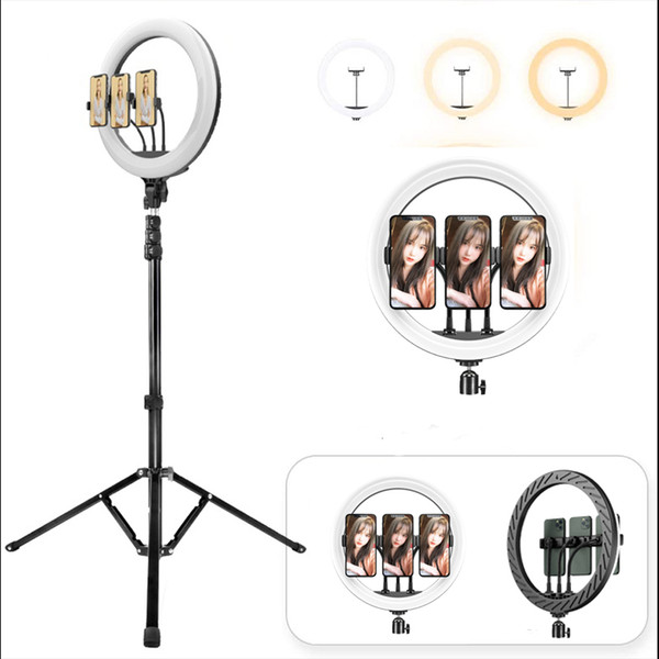 wholesale beauty 12 inch tiktok tik tok pgraphic selfie led ring light with 2m tripod stand for live stream makeup youtube video
