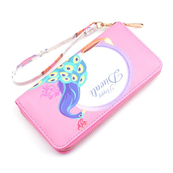 ougger women purse and wallet money clips long pink pu latest model korean style change purse with cartoon printing zipper (513249501) photo