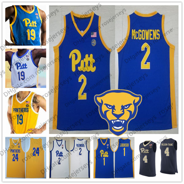 Cu tom pitt burgh panther 2019 pitt ba ketball any name number navy blue white yellow 1 xavier john on 2 trey mcgowen men youth kid jer ey