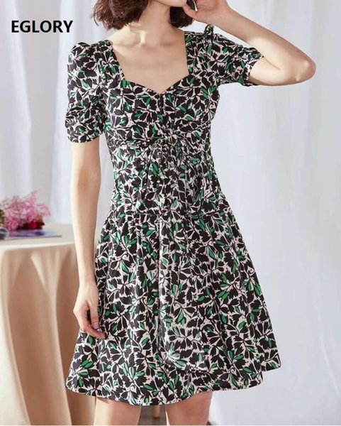 100%Cotton Dress 2020 Summer Style Women Sexy Square Collar Green Color Block Flower Print Short Sleeve Large Swing Bow Dress XL