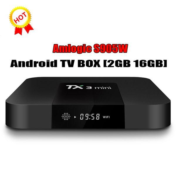 Android 7.1 OTT TV Box Tx3 Mini Amlogic S905W Четырехъядерный процессор 2 ГБ 16 ГБ 4K Smart Streaming Media Player 1 ГБ
