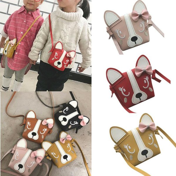 2020 new mini cute dog bow leather coin bag girl coin purse baby girl children bags (545395573) photo