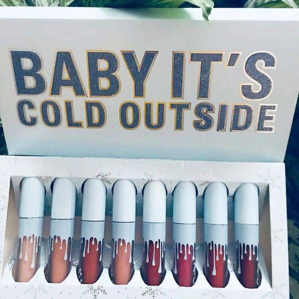 Блеск для губ ребенка его холодной вне 8 цветов блеск для губ макияж матовая помада Limited Edition день рождения коллекция бесплатная доставка
