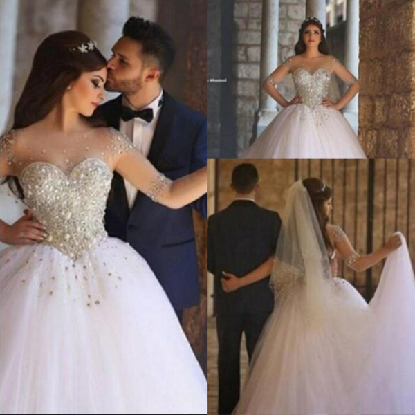 Major Beading Ball Gown Wedding Dresses With Sheer Neckline Crystals Illusion Sleeves Plus Size Wedding Dress Sweep Train C
