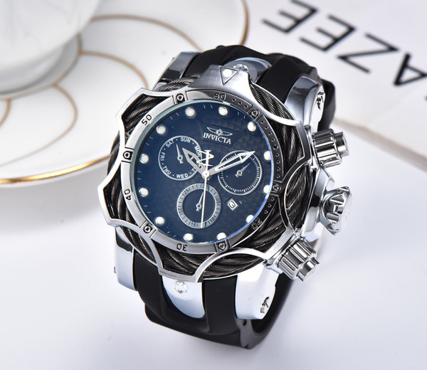 1E INVICTA Luxury Gold Watch All sub dials working Men Sport Quartz Watches Chronograph Auto date rubber band Wrist Watch for male gift