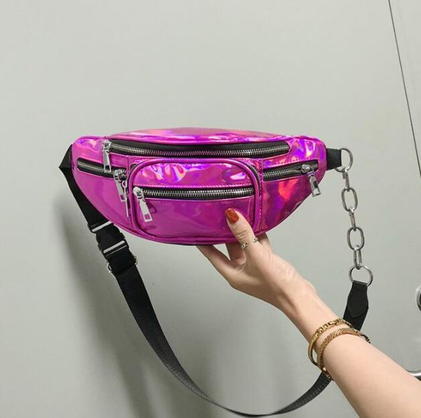 2020 wholesale handbags purses wholesale women waist bag pu new fashion crossbody bag laser shoulder bags (546345529) photo