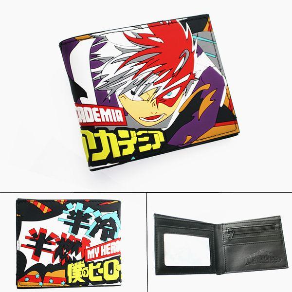 anime my hero academia leather wallet midoriya izuku garçons filles bifold card porte photo layers cartoon coin purse zip de poche (499620886) photo
