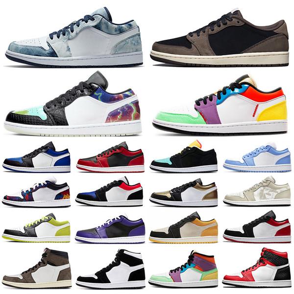 new 1 high og men women basketball shoes 1s jumpman travis low shattered backboard Washed Denim UNC mens trainers sports sneakers 5.5-11