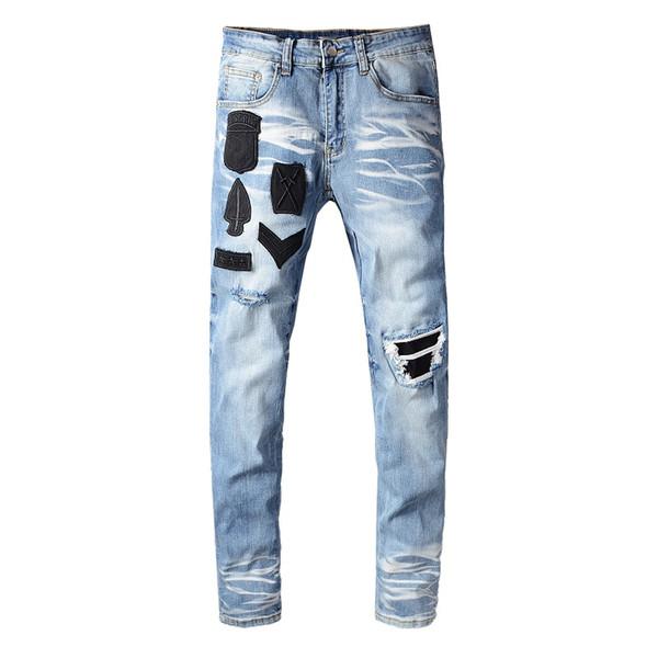 2020 Лучшие качества Amirl Jeans # 617 Известный дизайнер бренда Luxury Jeans Men Fashion Street Wear Мужские джинсы Байкер Man Популярные Брюки Hip Hop фото