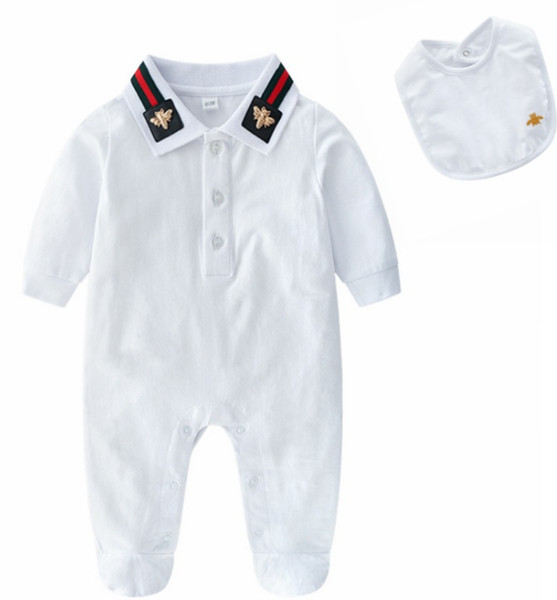 Retail new fashion 100% cotton children's wear boys' and girls' rompers long sleeve jumpers 2 sets small boys' and girls' sets baby rompers