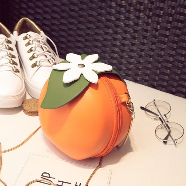 ljl fruit orange shaped women pu leather clutch purse cross body bag (491752110) photo