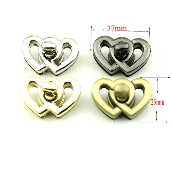 37x25mm gold silver heart twist turn snap purse lock (462964329) photo