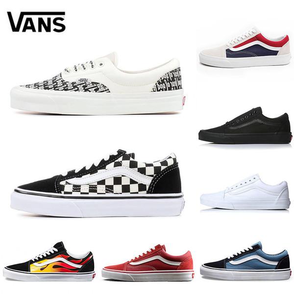 Vans 2019 Оригинал Vance старый skool sk8 мужские женские кроссовки из плотной ткани черный
