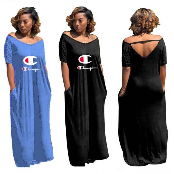 Women Champion Letter Long Dress Loose V-Neck Split Hoodie Dresses Spring Summer Short Sleeve Low Back Skirt CHAMP Ladies Clothing A41602