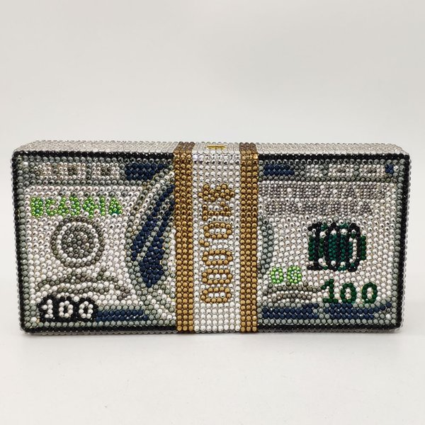 unique design $100 dollars money bag women crystal box clutch evening bags cocktail dinner purses and handbags (497083536) photo