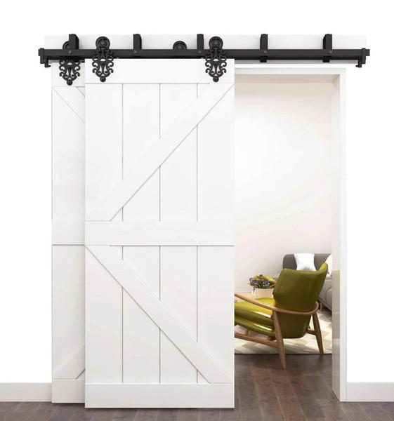 2 door bypa royal pattern black teel liding barn door hardware double clo et door interior door rolling track et kit