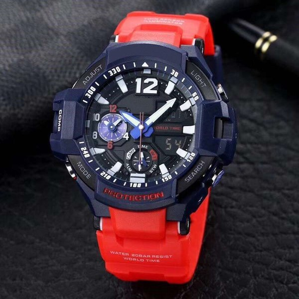 sports brand luxury GA1000 Compass mens watches 50mm Noctilucent display Water Resistant sports wristwatch Military waterproof atmos clock