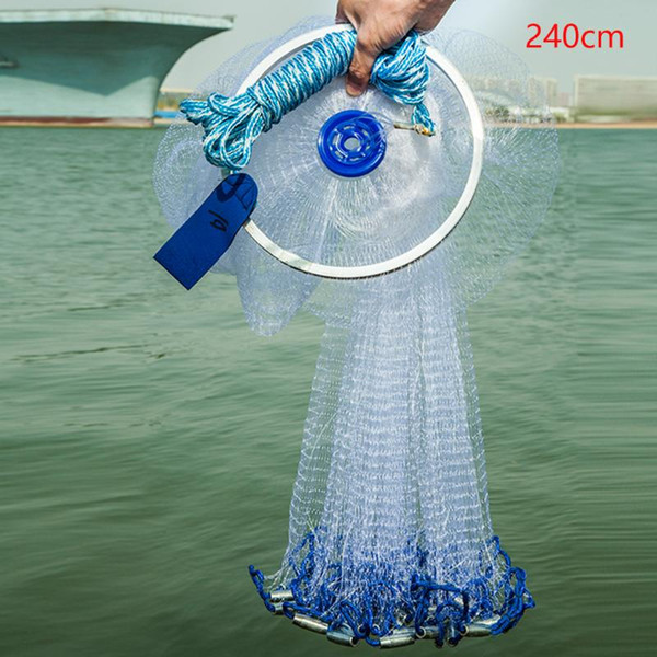 hand throw monofilament wire cast mesh with ring american style tools fishing net easy use durable accessory folding outdoor