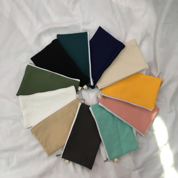 Simplicity 14 color blank canva zipper pencil ca e pen pouche cotton co metic bag makeup bag mobile phone clutch bag zj1308