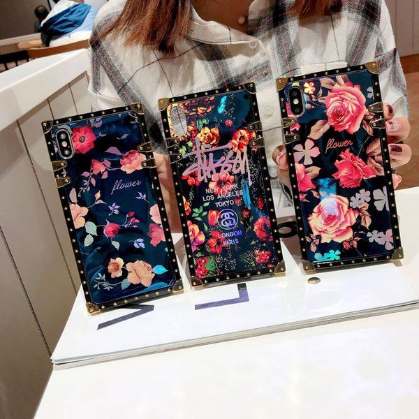 suitable for apple mobile phone 8 8plus x xs xsmax 11pro 11pro max laser blue light flower tide brand mobile phone protective shell