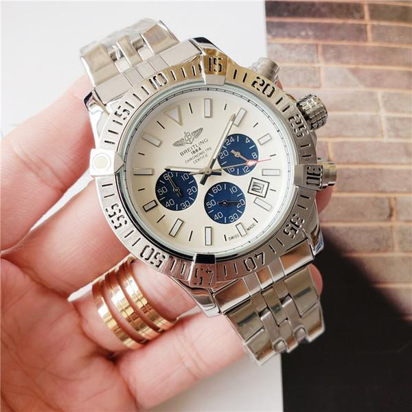 Мужские часы 48мм Большой циферблат 1884 кварцевый хронограф Мужской Все стали Кале фото
