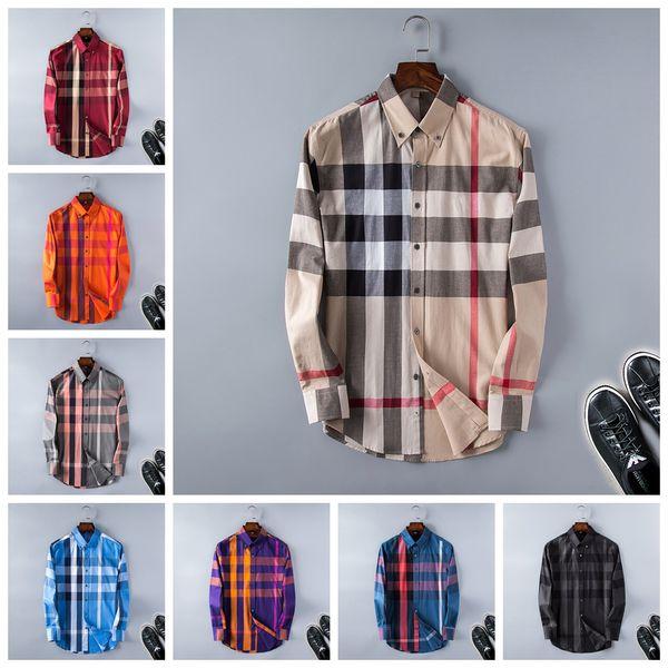 Brand mens designer long sleeve shirts firmate dress shirts fashion casual luxury shirt plaid shirt homme button up bk01 фото