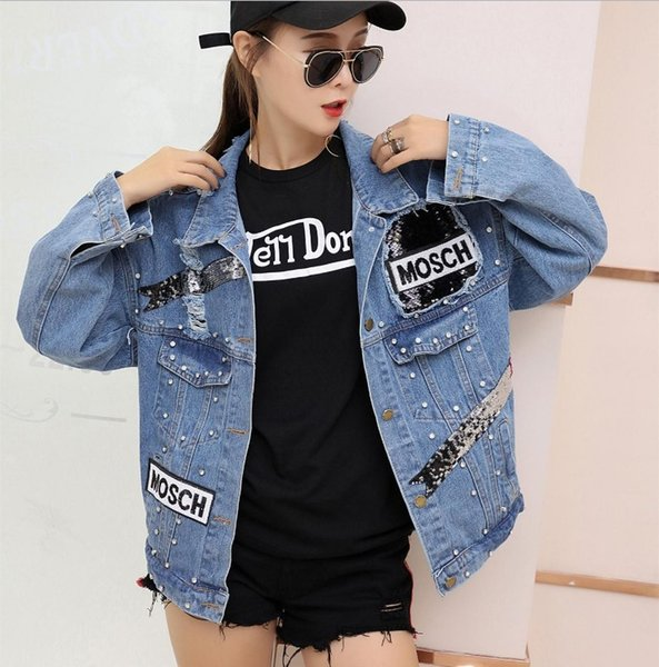 Female Jacket 2019 Sequins Pearls Punk Batwing Sleeve Women's Denim Jacket Ladies Loose Vintage Streetwear Jeans Jackets Coat1