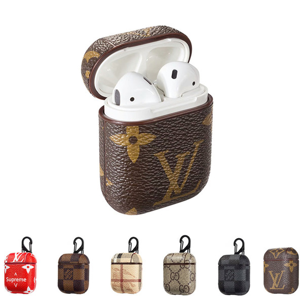 For airpod  ca e luxury leather protective cover hook cla p keychain anti lo t fa hion brand earphone ca e  protector