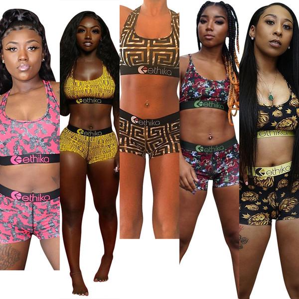 5 colors Ethika Women Designer Swimsuit Crop Top Vest + Swim Shorts Trunks Boxers 2 Piece Set Tracksuit Patchwork Shark Camo Swimwear DHL