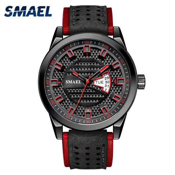 SMAEL Часы Мужские кварцевые часы Япония Movt Водонепроницаемые часы Корпус из нержавеющей стали кожаный наручные часы 9120 Часы HOMBRE мужские часы фото
