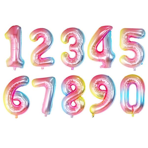 2019 новый 32-дюймовый градиент цвета цифровой шар день рождения новый год ну вечери