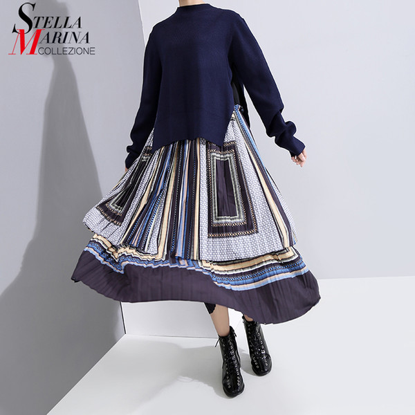 * New Full Sleeve Women 2019 Fashion Winter Long Patchwork Dress Pleated Printed Ladies Stylish Holiday Dress Robe Femme 5796