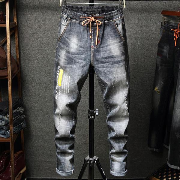 Мужские проблемных разорвал байкер джинсы мотоциклов Slim-подходят байкер джинсы для мужчин мода дизайнер хип-хоп мужские джинсы дизайнер де лить людей фото