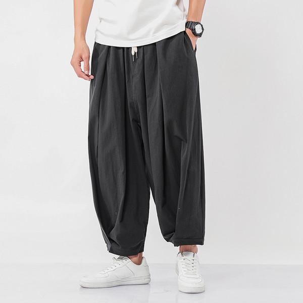Широкие широкие брюки Januarysnow дизайнер бренд мужской китайский стиль свободного покроя шаровары осень сплошной цвет негабаритных мужские трусы фото