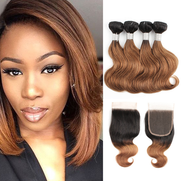 Пачки волос объемной волны 1B 30 Ombre коричневые с закрытием 50g / пачка 10-12 дюймов 4 пач