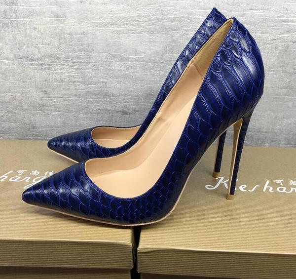 Ss2019 бесплатная доставка мода женщины свадьба синий питон змея кожа Poined пальцы на высоких каблуках туфли на шпильках туфли на каблуках насосы 12 см 10 см фото