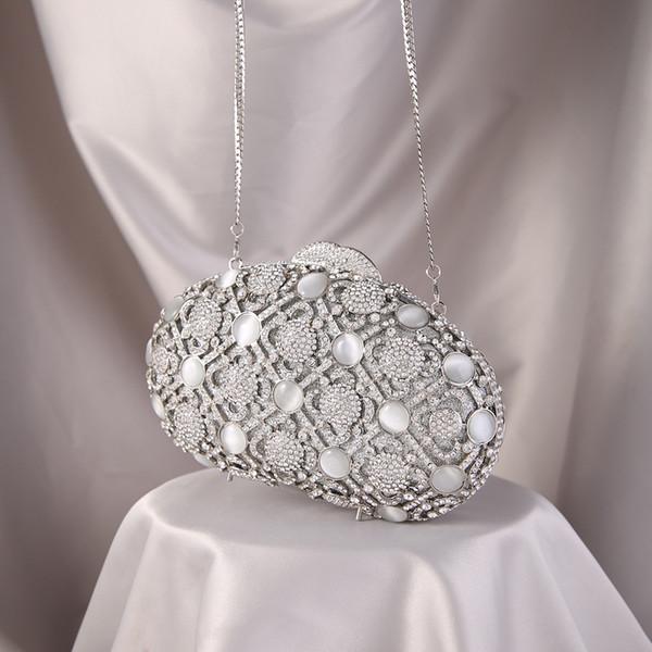 women fashion luxury evening handbag big rhinestone diamond studded silver clutch purse shell shape metal lady girl party bag (549835298) photo