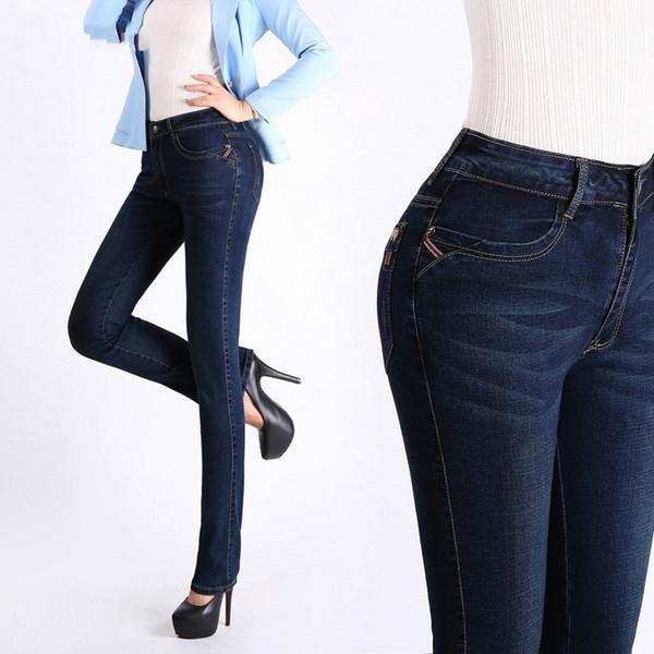 Февраль бренд дизайнер Женские джинсы Высокая Талия плюс размер осенние джинсовые брюки стрейч джинсы Женские брендовые брюки Женские брюки фото