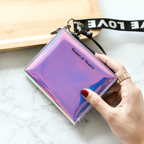leather women zipper coin purses fashion small wallet women laser mini purse wallet short trifold thin purses ladies money bag (512899330) photo