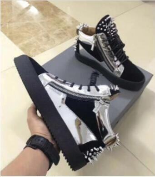 Dust bag original box ,2019 New Designer Brand high Top zanotti Casual Shoes,Men Women's Genuine Leather Autumn Spring Flats 35-47