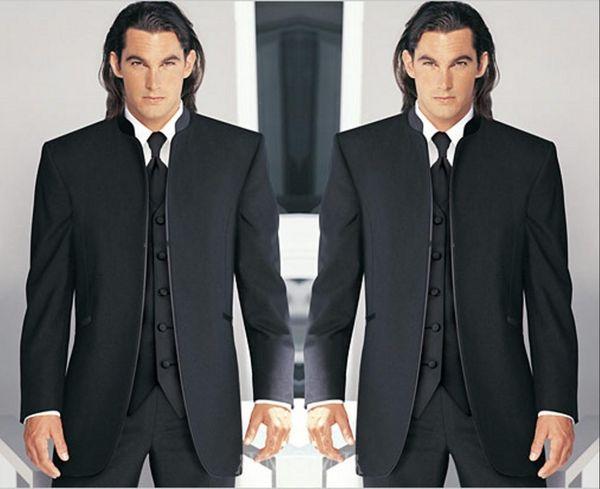 Groomsmen Black Groom Tuxedos Mandarin Lapel Best Men Bridegroom Wedding/Prom/Dinner Suits (Jacket+Pants+Tie+Vest) Custom Made