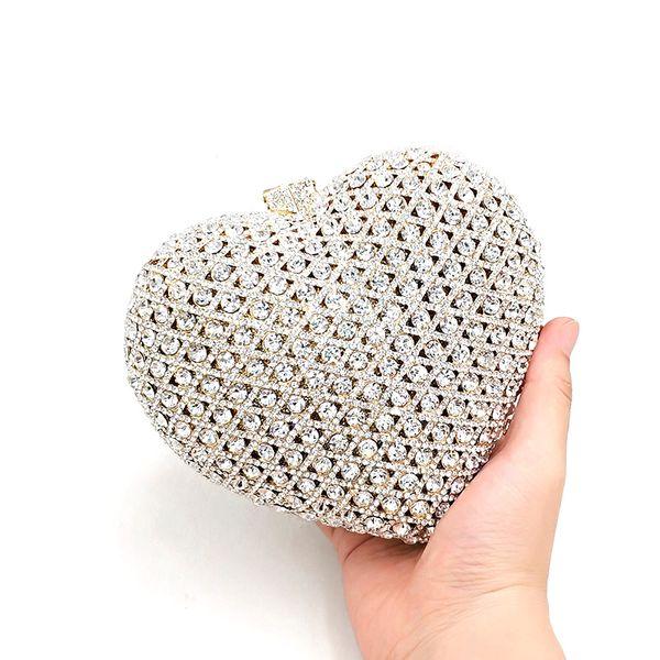 fashion women evening party handbag diamonds elegant purses clutches bridal wedding party heart crystal purses bag (509249975) photo