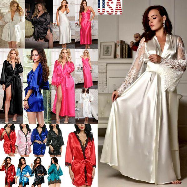 fashion women's silk satin robe lingerie sleepwear bathrobe bandage lace v-neck girls robes summer