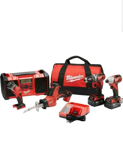 New m18 milwaukee 5 tool combo kit 18 volt cordle combo drill kit 2689 25p nib