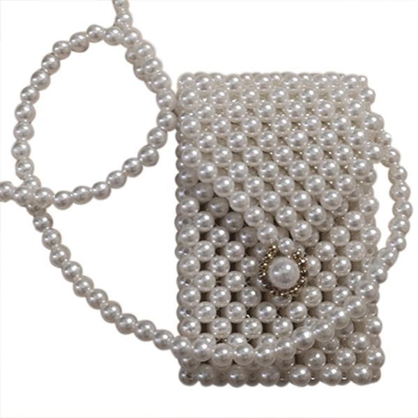 ljl-super mini pearl crossbody cross body bag fashion cute girls purses handbags handmade beaded bag waist pack(white) (505975709) photo