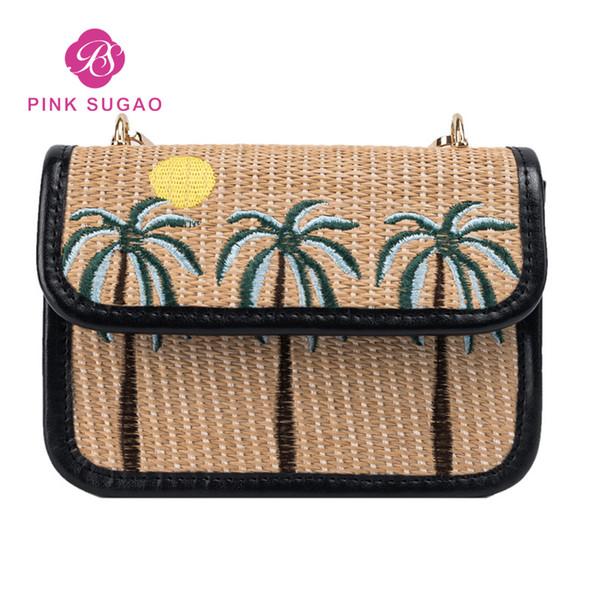 pink sugao designer handbags purses handmade straw bag designer crossbody bag for women summer shoulder bag (457683674) photo